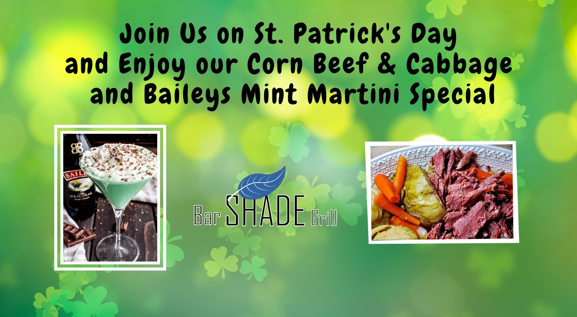 Shade Bar and Grill Windsor Locks CT - Join us on St. Patrick's Day